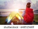 camp forest adventure travel... | Shutterstock . vector #648515689