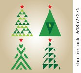 christmas tree set vector. | Shutterstock .eps vector #648527275