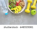 healthy lifestyle  food and...   Shutterstock . vector #648535081