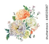 vintage watercolor bouquet with ... | Shutterstock . vector #648535087