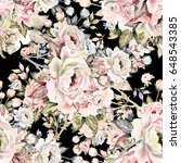seamless pattern of bouquets of ... | Shutterstock . vector #648543385