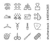 tailor vector line icon set.... | Shutterstock .eps vector #648544285