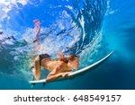 active girl in bikini in action.... | Shutterstock . vector #648549157