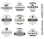farmers market logos templates... | Shutterstock .eps vector #648551695