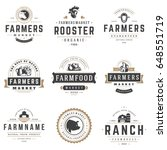 farmers market logos templates... | Shutterstock .eps vector #648551719