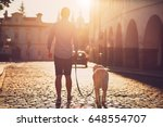 Stock photo morning in the city young man walking with his dog on the old street at golden sunrise prague 648554707