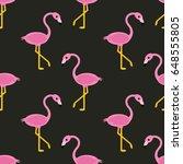 seamless basic flamingo pattern ... | Shutterstock .eps vector #648555805