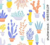 succulents and cacti plants.... | Shutterstock .eps vector #648558139