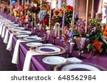 table set for wedding or... | Shutterstock . vector #648562984