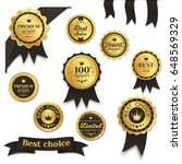 set of golden badges with black ... | Shutterstock .eps vector #648569329