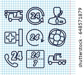 set of 9 assistance outline...   Shutterstock .eps vector #648571879