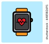 flat heart rate watch icon  | Shutterstock .eps vector #648582691