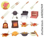 barbecue tools icons set.... | Shutterstock .eps vector #648582949