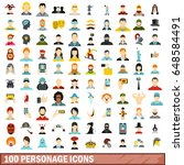 100 personage icons set in flat ... | Shutterstock .eps vector #648584491