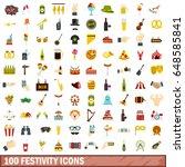 100 festive music street icons... | Shutterstock .eps vector #648585841