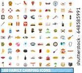 100 family camping icons set in ... | Shutterstock .eps vector #648585991