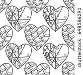 decorative hearts. black and... | Shutterstock .eps vector #648586291