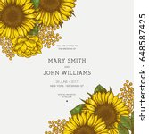 sunflower vintage wedding... | Shutterstock .eps vector #648587425