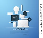 paper concept of coding  front... | Shutterstock .eps vector #648587914