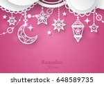 islamic paper ornaments... | Shutterstock .eps vector #648589735