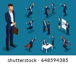 isometric cartoon people  3d... | Shutterstock .eps vector #648594385