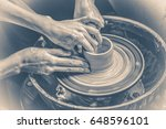 old vintage photo. the potter... | Shutterstock . vector #648596101