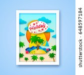 vacation on the island postcard.... | Shutterstock .eps vector #648597184