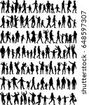 large collection silhouettes of ... | Shutterstock .eps vector #648597307