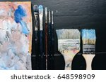 artistic brushes and a palette...   Shutterstock . vector #648598909