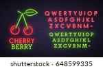 cherry neon sign  bright... | Shutterstock .eps vector #648599335