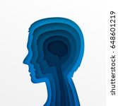 the head of a man and layers of ... | Shutterstock .eps vector #648601219