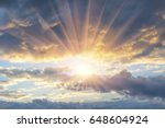 beautiful evening sunset with... | Shutterstock . vector #648604924