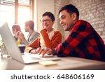 working on design  designers in ... | Shutterstock . vector #648606169