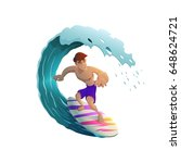 happy young surfer guy... | Shutterstock .eps vector #648624721