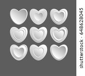 set of white hearts icons on a... | Shutterstock .eps vector #648628045