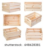 wooden boxes isolated on white... | Shutterstock . vector #648628381