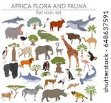 flat africa flora and fauna map ... | Shutterstock .eps vector #648637591