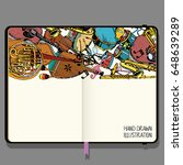 vector sketchbook with shadows... | Shutterstock .eps vector #648639289