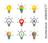 light bulb concept. set made of ... | Shutterstock .eps vector #648640177