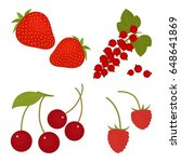 red fruits and berries isolated ...   Shutterstock .eps vector #648641869