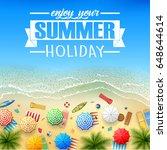tropical beach cartoon | Shutterstock .eps vector #648644614