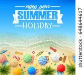 tropical beach cartoon | Shutterstock . vector #648644617