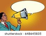 pop art black businessman with... | Shutterstock .eps vector #648645835