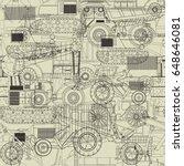 construction vehicles seamless... | Shutterstock .eps vector #648646081