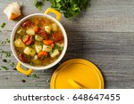 traditional potato soup. top... | Shutterstock . vector #648647455