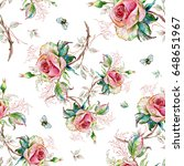seamless rose pattern and... | Shutterstock . vector #648651967