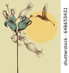 cute colibri invitation card ... | Shutterstock .eps vector #648653431