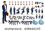 Isometric cartoon people, 3D Set for creating an office worker character. Full length gestures isolated on white background. Create your own design for vector | Shutterstock vector #648666145