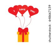 flat icon gift with balloons....   Shutterstock .eps vector #648667159