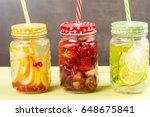 fresh fruits flavored water... | Shutterstock . vector #648675841
